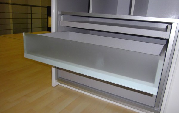 Wardrobe drawer with satin glass front